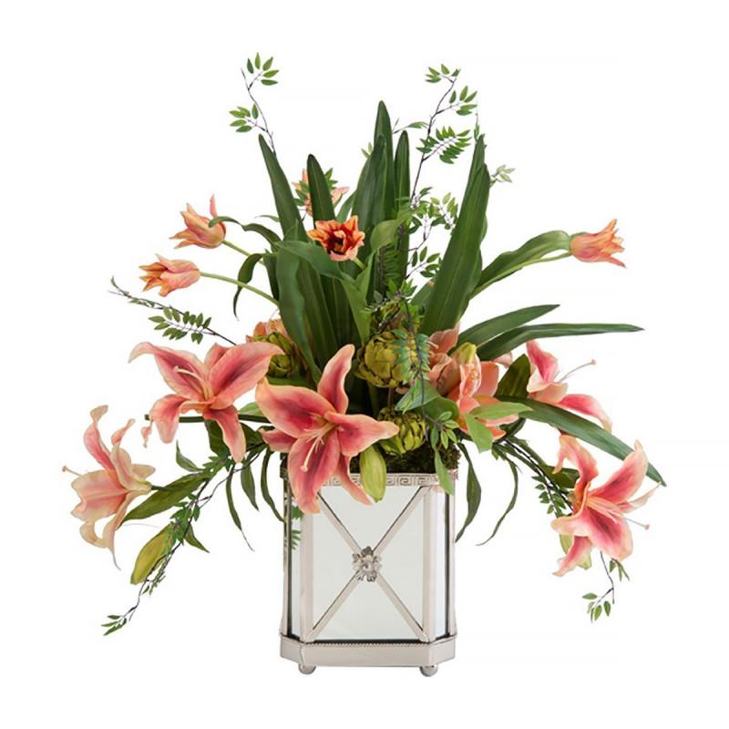 Букет цветов в зеркальной вазе, производитель США