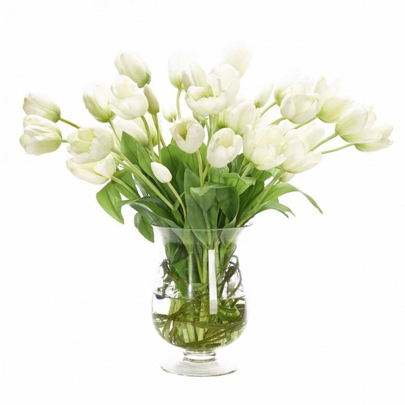 Букет цветов в вазе: белые тюльпаны, NDI (Америка)