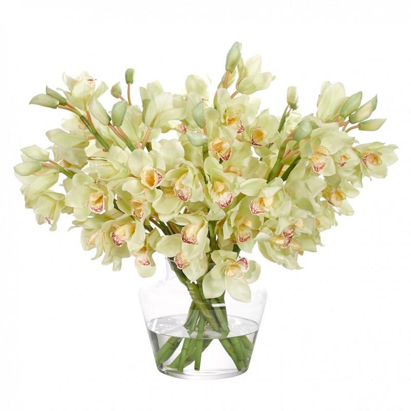 Букет цветов в вазе: кремовые орхидеи, NDI (Америка)