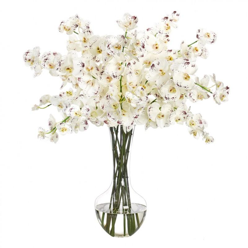 Букет цветов в вазе: бело-пурпурные орхидеи, NDI (Америка)