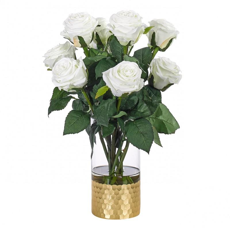 Букет цветов в вазе: белые розы, NDI (Америка)
