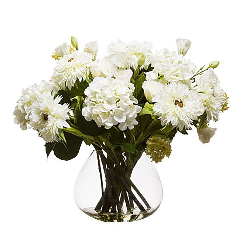 Букет белых цветов в вазе, Lux-Art Silks (Америка)