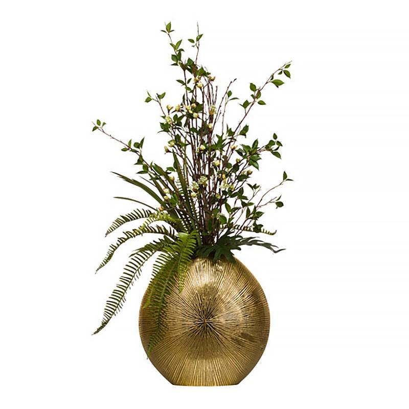 Букет цветов в золотистой вазе: ветви с почками, папоротник, Lux-Art Silks (Америка)