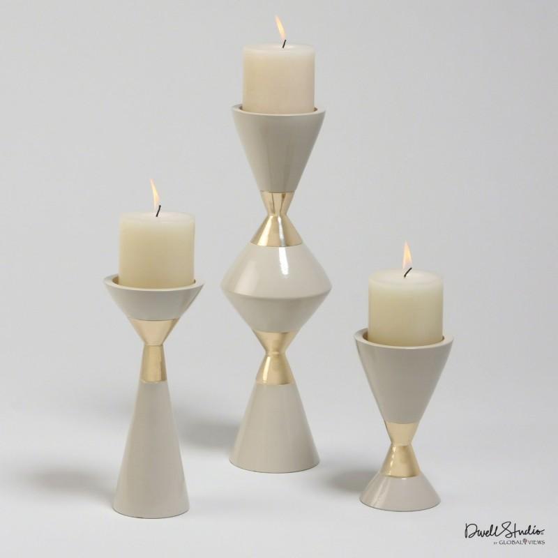 Комплект из 3-х подсвечников Hourglass Pillar, Global Views (Америка)