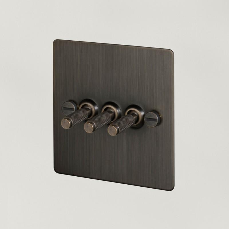 Выключатель трехклавишный Smoked Bronze, Buster&Punch (Англия)