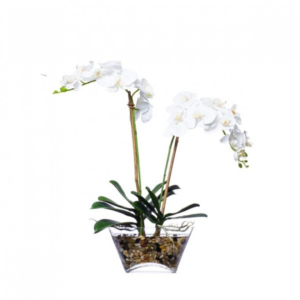 Белый фаленопсис в вазе, Lux Art Silks (Америка)