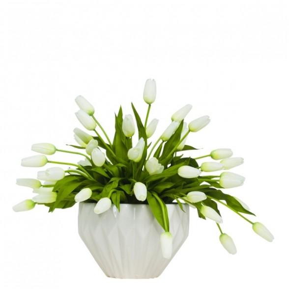 Белые тюльпаны в граненной в вазе, Lux Art Silks (Америка)