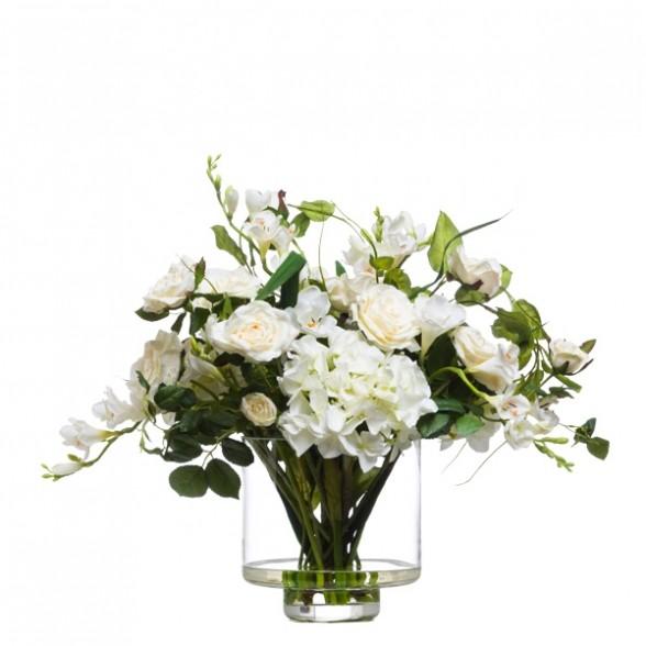 Белая гортензия и бежевые розы в вазе, Lux Art Silks (Америка)